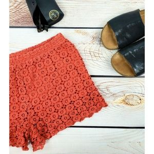 Chelsea & Violet coral red lace shorts lined S